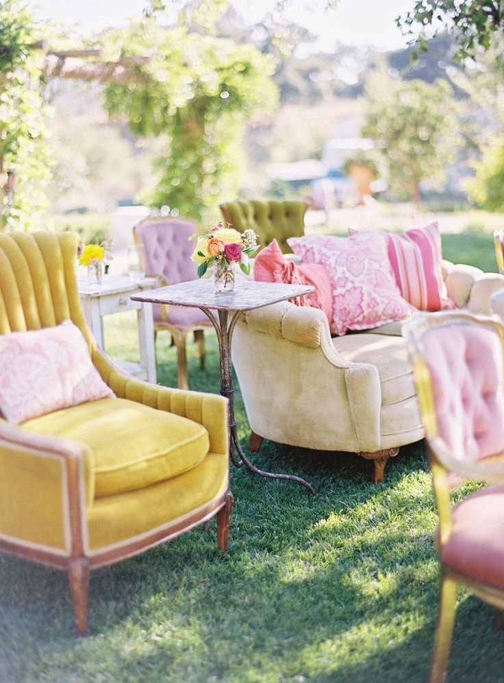 Incorporate color into your ceremony seating: Decor, Outdoor Wedding, Chair, Garden Party, Wedding Ideas, Weddings, Garden Parties, Ryan Ray, Photo