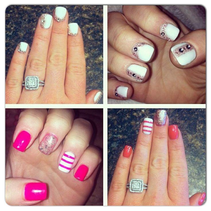 Wedding nails and summer nails! Very fun short sets!