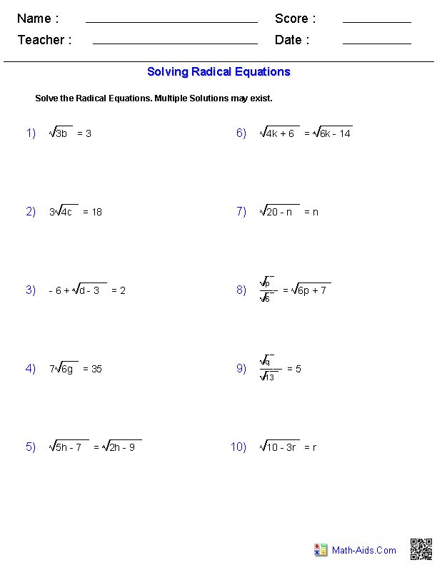 Solving Radical Equations Worksheets | Math-Aids.Com | Pinterest