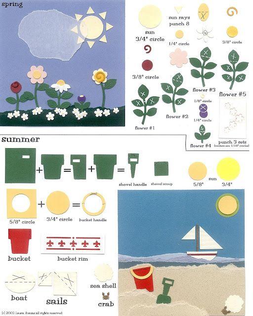 laura's frayed knot: Paper-Punch Art - 4 seasons - Spring & Summer