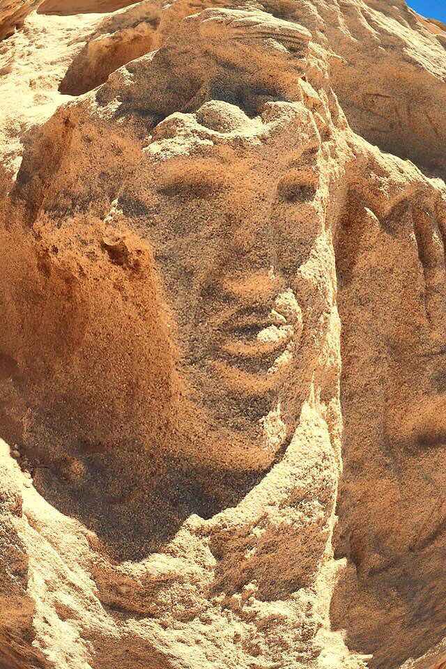 Sculpted in the sand walls in Ibiza