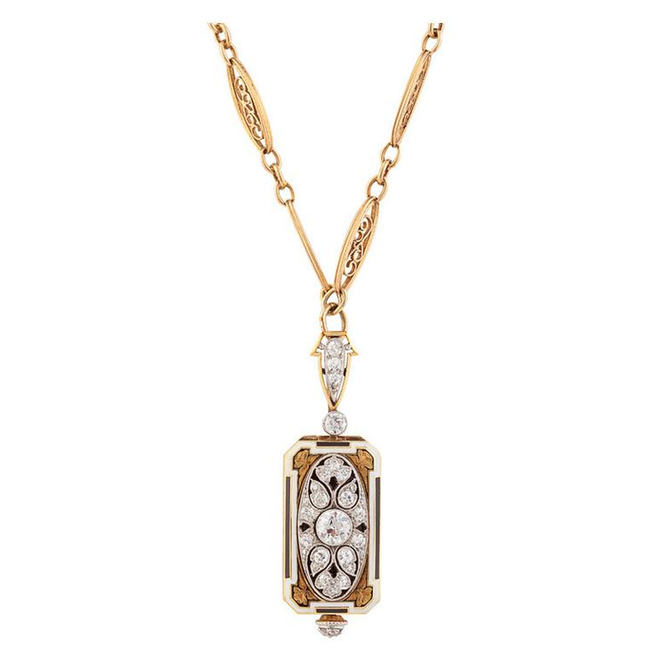 Cresarrow Lady's Yellow Gold, Diamond and Enamel Pendant Watch   From a unique collection of vintage pocket watches at http://www.1stdibs.com/jewelry/watches/pocket-watches/
