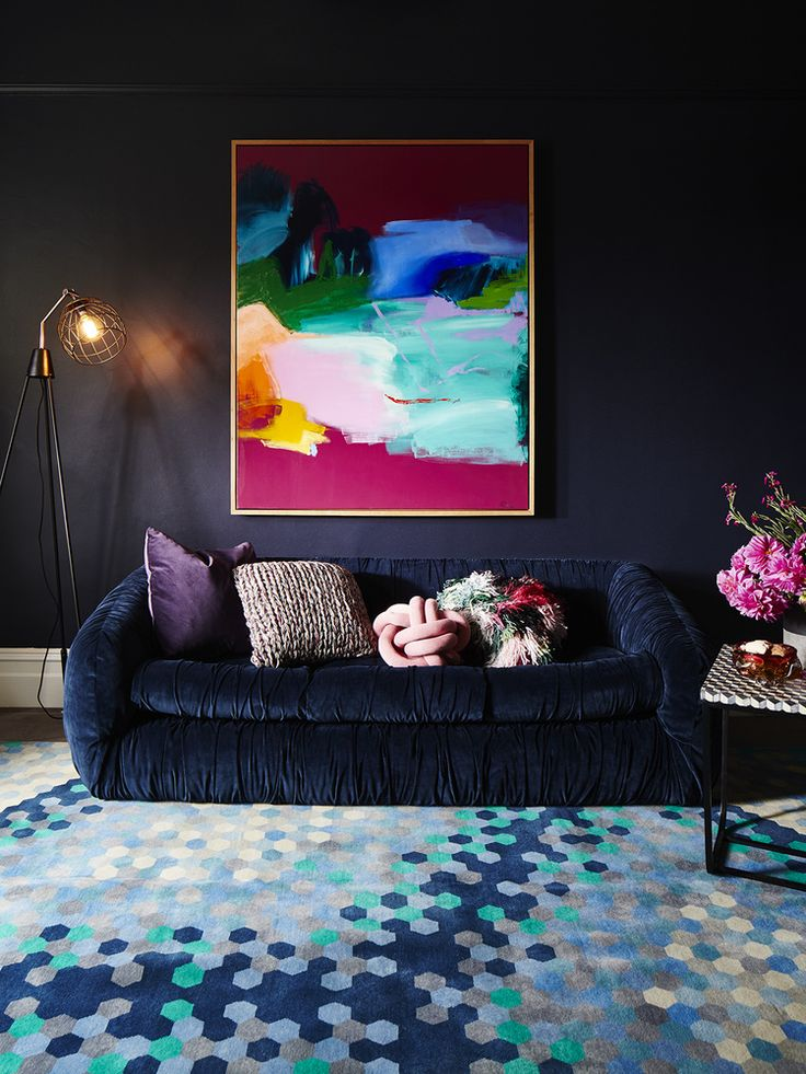 dark & dynamic living room via @adorehome // Haymes paint colour: Lights Off