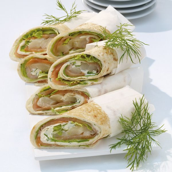 WeightWatchers.fr : recette Weight Watchers - Wraps au saumon fumé et asperges