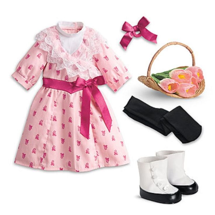 American Girl Samantha's Flower Picking Set LE Basket Shoes Dress Flowers Pink N #AmericanGirl #DollClothingAccessories