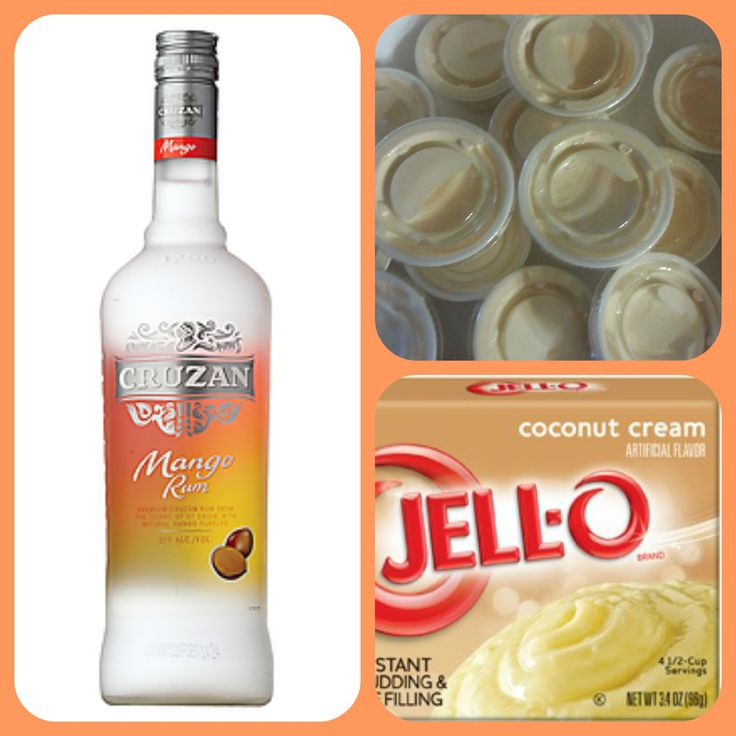 Mango Colada 1 small Pkg. coconut cream instant pudding ¾ Cup Milk 3/4 Cup Cruzan Mango Rum 8oz tub Cool Whip  Directions 1. Whisk together the milk, liquor, and instant pudding mix in a bowl until combined. 2. Add cool whip a little at a time with whisk. 3.Spoon the pudding mixture into shot glasses, disposable shot cups or 1 or 2 ounce cups with lids. Place in freezer for at least 2 hours