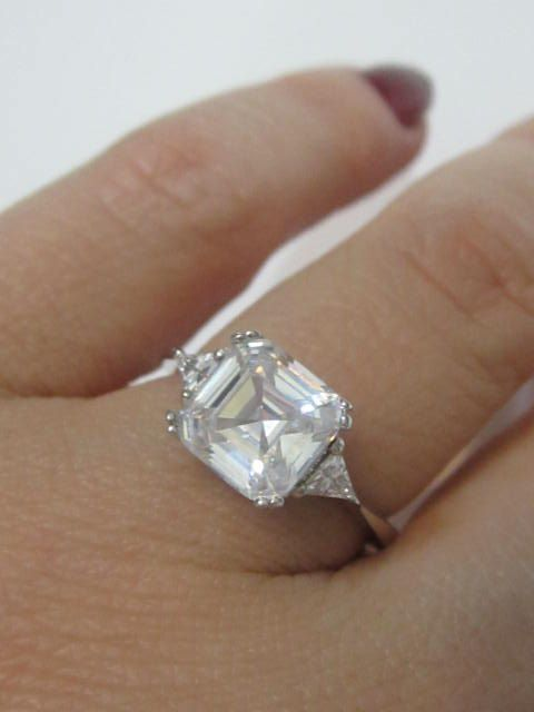 Asscher Cut Engagement Rings, Art Deco Style Asscher Cut Ring Setting, Asscher…