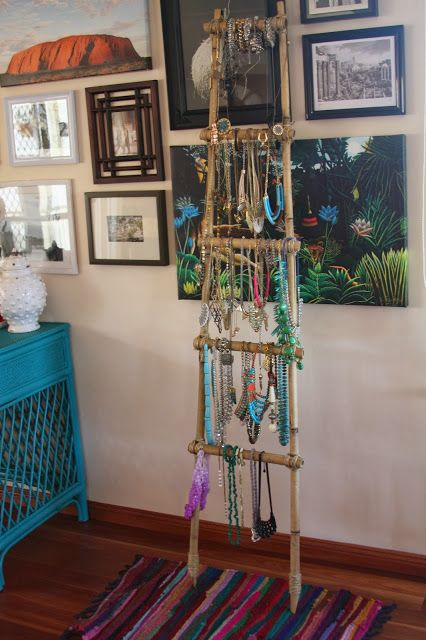 DIY Bamboo ladder for jewellery storage