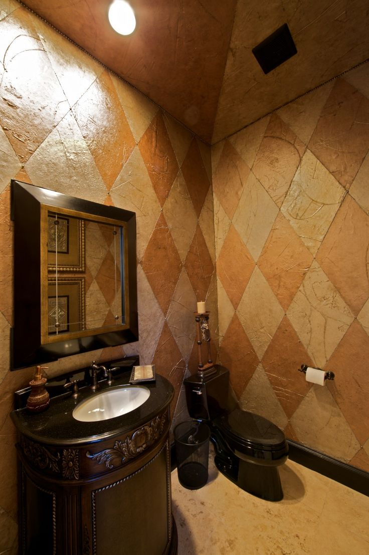 Bathroom, Amusing Bown Ceramic Wall Tiles Half Bath Ideas And Great Black Vanities Bathroom Mirror Ideas With Single White Sink And Black Smart Toilet In Rustic Bathroom Small Space Design: Fancy Half Bath Ideas For Small Space Design Inspirations