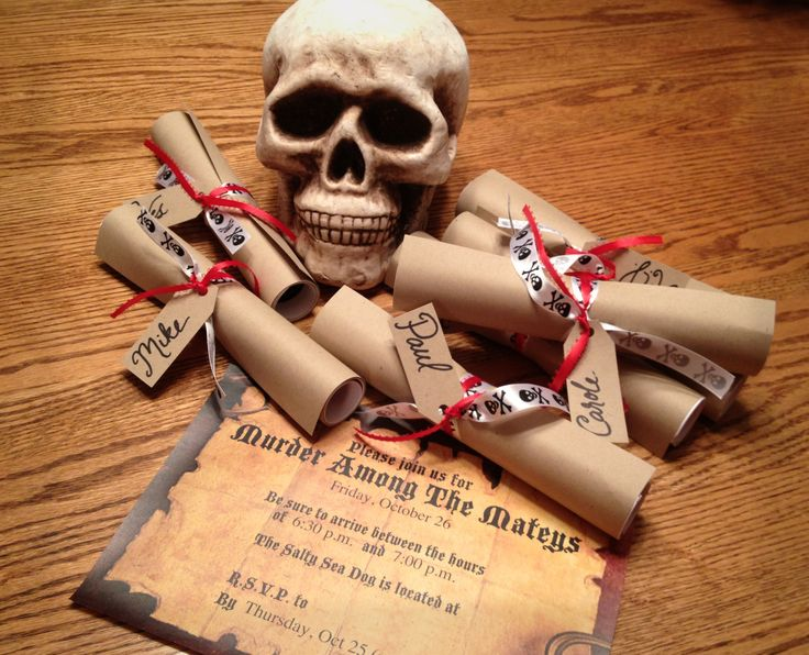 The invitations for my Pirate Murder Mystery Dinner Party.