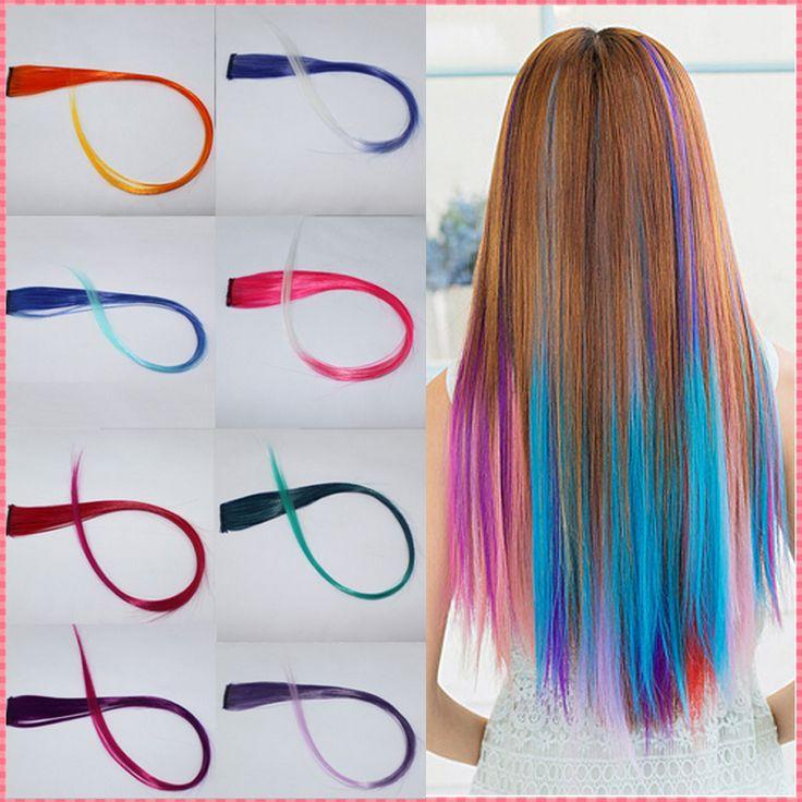 Rambut ekstensi 2016 Baru Tiba fashion wanita Panjang Warna Gradien cosplay rambut Sintetis Klip Dalam Ekstensi potongan # JO009