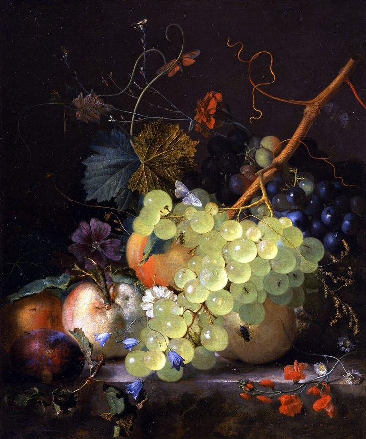 Fruit Still Life ~ artist Jan van Huysum, c.1700's, Netherlands.  #art #painting #Dutch_Golden_Age