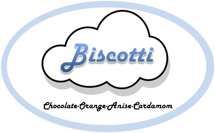 """Font: Harlow bold italic (public domain) throughout with MS Word 2010 WordArt transformation for """"Biscotti""""; clip art: cloud from public domain #placards #design #placard design #cookies #biscotti"""
