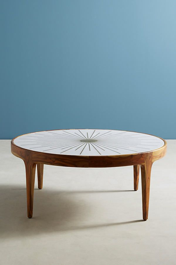 Brass Starburst Round Coffee Table By Anthropologie In Brown Size