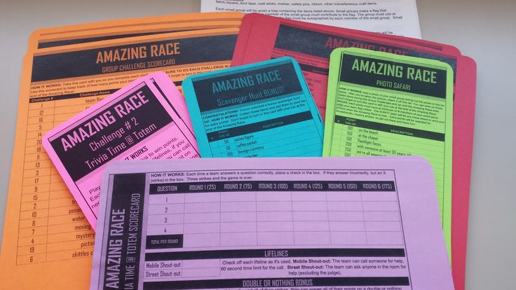 I scoured the interwebs for Amazing Race ideas and put together a sort of 'best of'.  The event I'm working on is for 120 youth and adults.  I made official-ish looking scorecards, signage and promotional material.  I get to move this one from the 'to -do' list to the 'DONE' list! :)