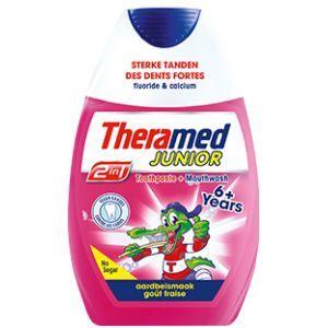 Theramed Tandpasta 2 in1 Junior Aardbeismaak 75 ml  Description: Theramed 2 in 1 Junior 6 jaar en ouder Tandpasta  mondwater. Voor sterke en gezonde tanden met een heerlijke aardbeismaak. Zo kunnen alle kinderen boven de 6 jaar het gebit ook goed verzorgen.  Price: 2.99  Meer informatie