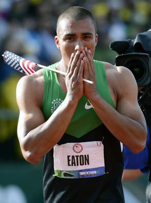 Ashton Eaton of Oregon Track & Field; broke Dan O'Brien's 20-year-old American record and Roman Sebrle's 11-year-old world record at the 2012 U.S. Olympic Trials in Eugene.