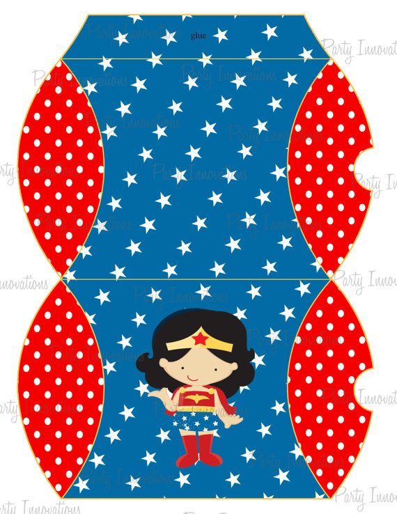 Printable Wonder Woman  Pillow Box by PartyInnovations09 on Etsy, $5.00