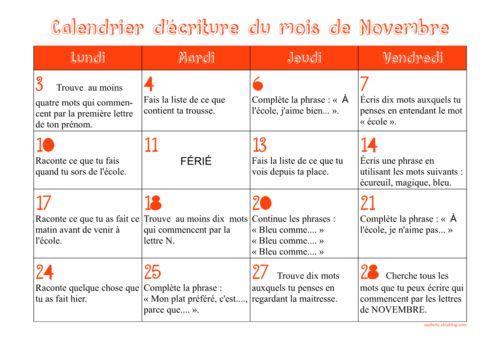 Calendriers d'écriture CE1 novembre