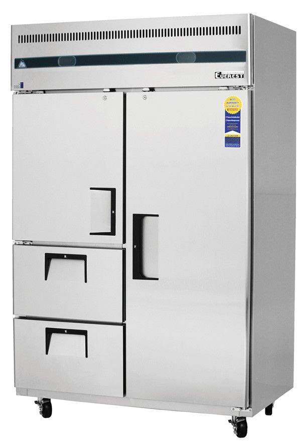 Everest Refrigeration Esrf2d2 Two Section Reach In Refrigerator Freezer Combo Restaurant Equipment An Locker Storage Restaurant Equipment Refrigerator Freezer