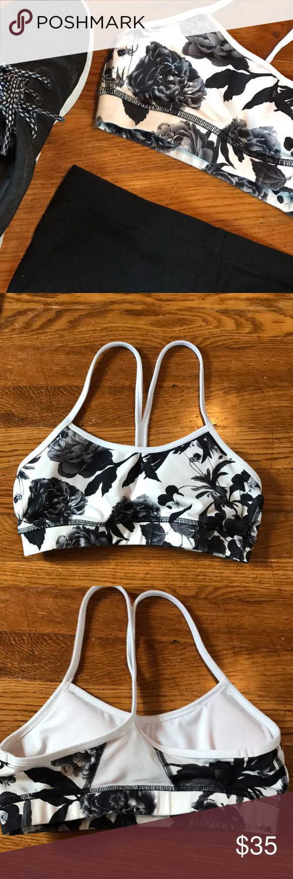 Floral Sports Bra Size 4 lululemon sports bra. Gently used. I'm open to offers and it comes from a smoke free home. Has mesh detailing in back. Comes with the padding lululemon athletica Intimates & Sleepwear Bras