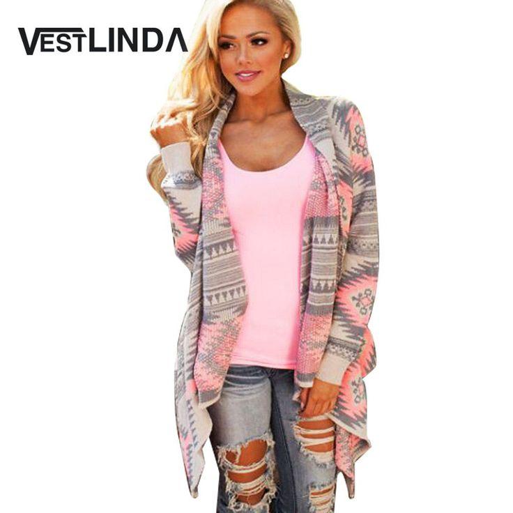 Vestlindaピンク着物カーディガンブラウス女性幾何学プリントロングスリーブコットンコートファッションニットポンチョカジュアルブラウストップス