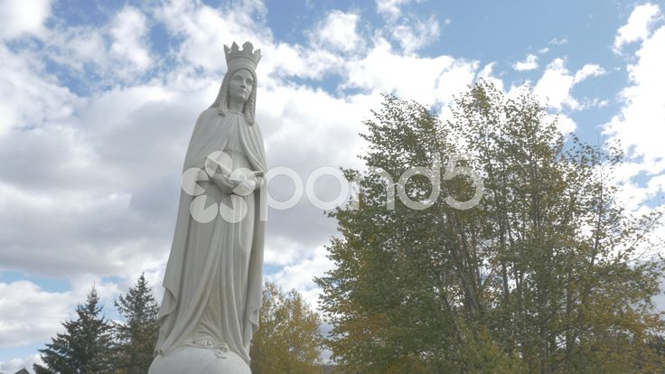 4K Statue Lady Of Peace Christian Monument Trees Clouds Sky Dunvegan  Hand Held - Stock Footage | by RyanJonesFilms #lumix #gh4 #4k #panasonic #ladyofpeace #statue #peace #video #dunvegan #monument