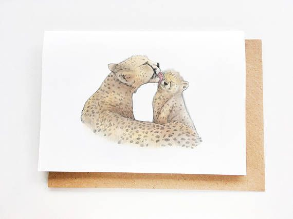 Mama Cheetah & Cub | Sweet Mother's Day Card, Mom Birthday Card, Handmade, Fête des mores, Madre, Muttertag, Card for mom, Thanks Mom