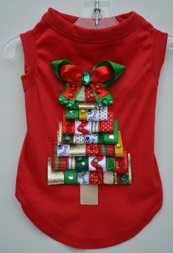 Dog shirt holiday ribbon christmas tree by kocouture on etsy