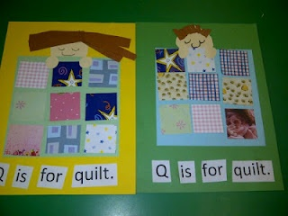 too cute for the letter Qq; love the quilts made from scrapbook paper and the cut up sentence