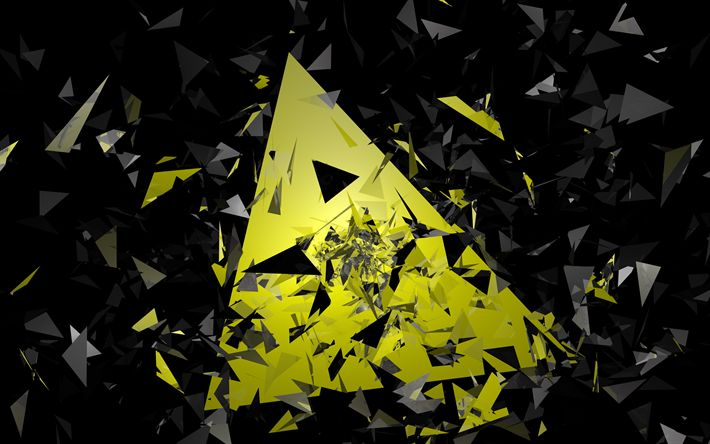 Download wallpapers 4k, pyramids, black and yellow, triangles, material design, geometric shapes, creative, strips, geometry, creative background