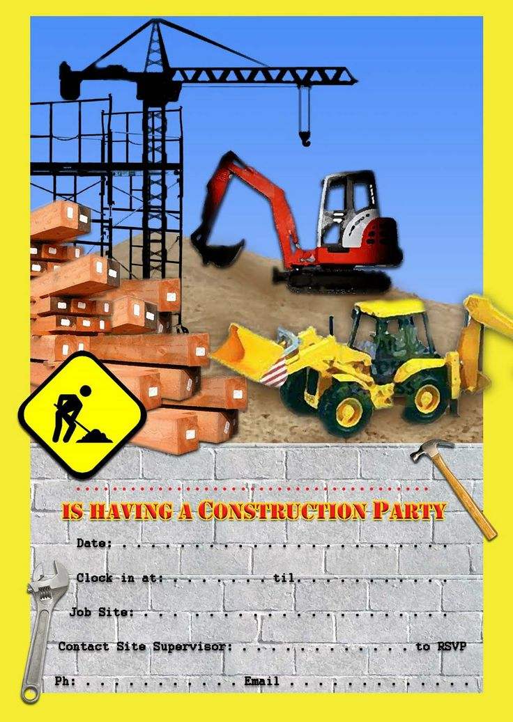 Best 25 Construction party invitations ideas – Digger Party Invitations