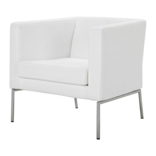 KLAPPSTA Fauteuil   - IKEA €89,95 Simple white chair for a little budget. I as a student love this!