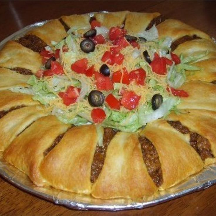 Crescent Taco Ring, I make this all the time, I add beans and salsa to the ground meat once it's cooked sometimes too! It's YUM!!!