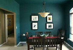 Dark teal in the dining room for sure!
