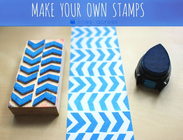 After posting all of those wonderful DIY stamp ideas, I had to try a few of my own. These stamps are really a combination of a few of the others, but are closest to this herringbone stamp from A Beautiful Mess.  I was a little worried that using craft foam sheets wouldn't work very well, but it really did. It was so easy, and I know I'm going to make more.  What you need:  1. Craft foam sheets 2. Glue + Scissors 3. Small wooden block 4. Ink