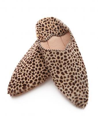 Pony Hair Cheetah Print Slippers