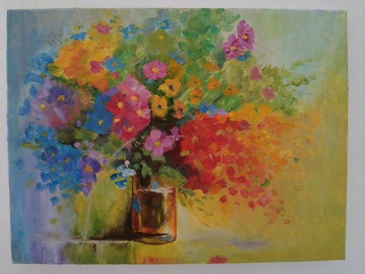 View and buy Flowers in the vase oil painting on canvas 30x40 by ClaireArtCafe on Etsy