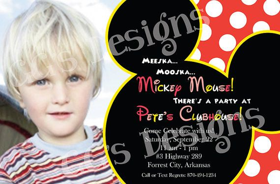 Mickey Mouse Invitation Customizable by GraphixGirlie on Etsy, $12.00