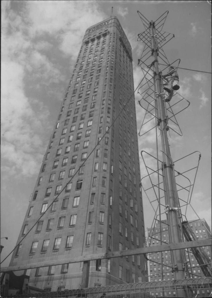 WTCN Television Antenna Next to Foshay Tower Before Being Hoisted Up