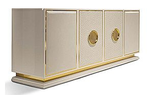 Credenzas & Sideboards - LEATHER UPHOLSTERED SIDEBOARD