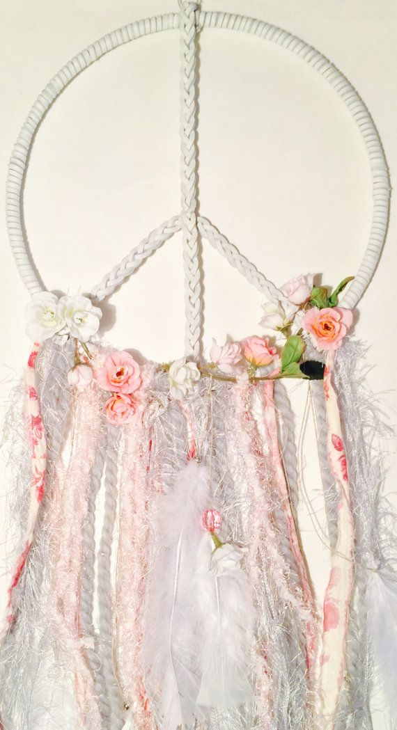 Perfect Peace Sign Dream Catcher or Dreamcatcher / Braided White Leather / Rose Buds / Vintage Material / White Feathers / Lady Bug Catcher