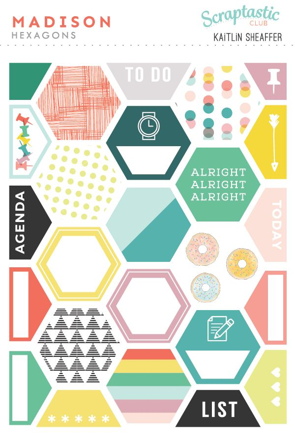 Madison Hexagon Stickers - Kaitlin Sheaffer for Scraptastic Club