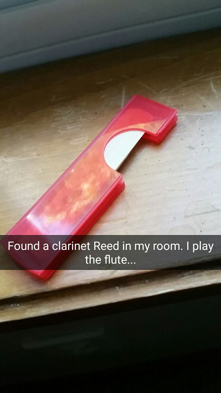 Found a clarinet reed in my room. I play the flute... #band #marchingband #flute #problems