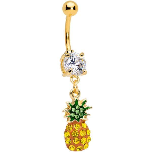 Navel Body Jewelry Pineapply Rhinestone Gem Dangle