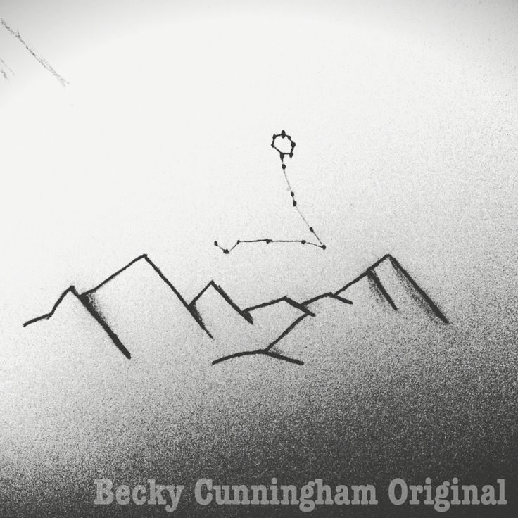 Mountain Range with Pisces Constellation above. Designed and drew it myself. #tattoo #mountains #adventure #zodiac