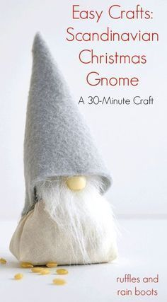 This holiday season, bring this adorable DIY Scandinavian Christmas Gnome with rice body into your home. It's a quick, 30-minute craft and is loved by all! #artsandcrafts