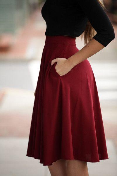Burgundy midi skirt with pockets on both sides! Delightful Ways Burgundy Skirt