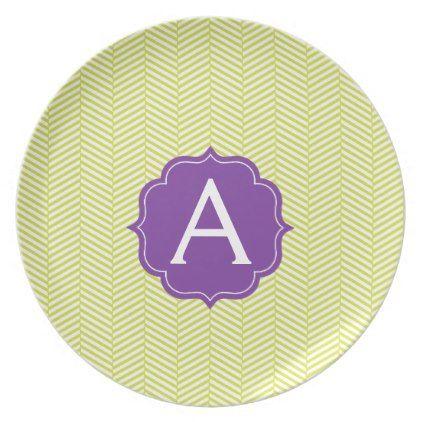 Monogram Citron Chevron with Purple Dinner Plate - monogram gifts unique custom diy personalize