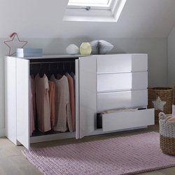 Armoire spécial soupente, 2 portes penderie, 4 tiroirs, Léo